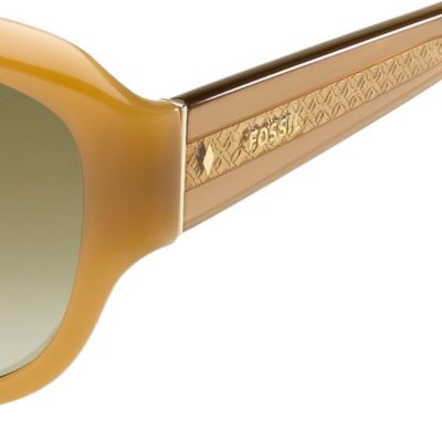 Handbags & Accessories: Fossil Accessories: Tan Gradient Fossil Oval Sunglasses