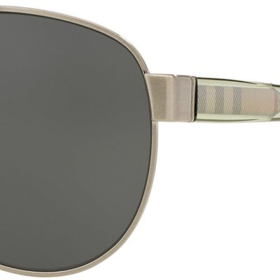 Aviator Sunglasses: Silver Burberry Transparent Check Core Aviator Sunglasses