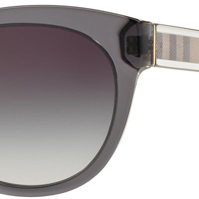 Round Sunglasses: Dark Gray Burberry Transparent Check Core Round Sunglasses