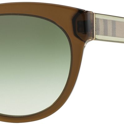 Round Sunglasses: Olive Burberry Transparent Check Core Round Sunglasses