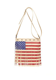 TWIG & ARROW Stars and Stripes Fringe Crossbody