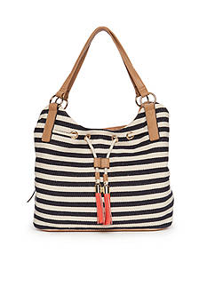 New Directions Stripe Tassel Shoulder Bag
