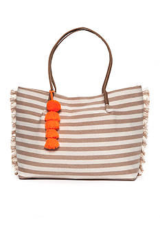 Red Camel Striped Tote With Poms