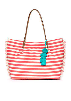Red Camel® Striped Tote With Poms