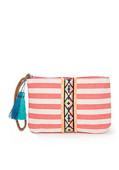 Red Camel Striped Wristlet With Tassels
