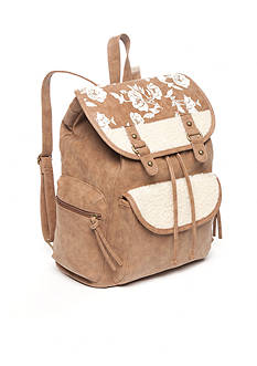 Red Camel Floral Sherpa & Suede Backpack