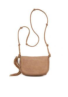 Red Camel Long Tassel Mini Saddle Crossbody Bag