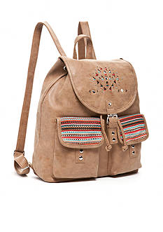 Red Camel® Embroidered Double Pocket Backpack with Tassels
