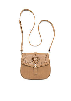 Red Camel Flap Perf Crossbody