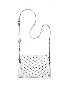 New Directions Perforated Tassel Crossbody