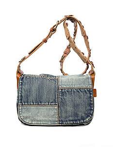 Patricia Nash Denim Patchwork Rosa Square Flap Bag