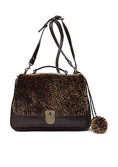 Patricia Nash Laser Cut Sherpa Cadiz Top Handle Crossbody Satchel Bag