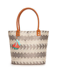 Red Camel Straw Tote With Tassel