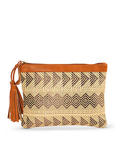 Red Camel Straw Clutch With Tassels