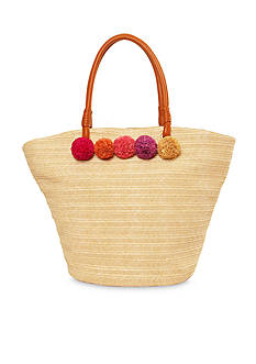 Red Camel Straw Tote With Poms