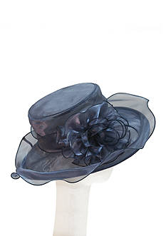 Giovannio Shimmer Frills with Feathers Hat