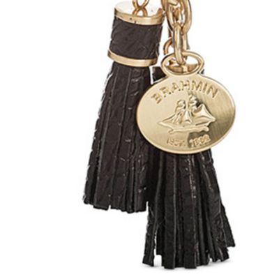 Designer Small Accessories: Black Brahmin Melbourne Collection Tassle Key Ring