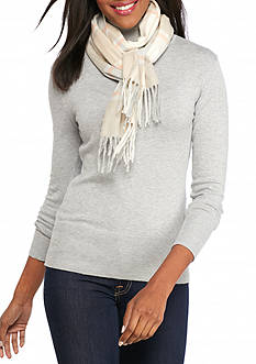 V Fraas Textured Houndstooth Scarf