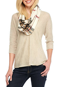V Fraas Plaid Oversized Lightweight Infinity Scarf