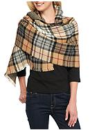 V Fraas Plaid Reversible Blanket Wrap