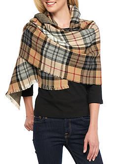 V Fraas Plaid Reversible Blanket Wrap
