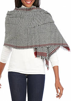V Fraas Houndstooth Blanket Wrap