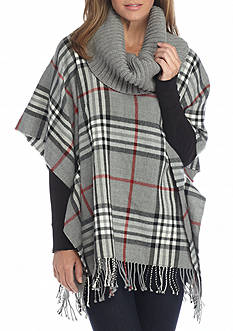 V Fraas Plaid Poncho with Turtleneck
