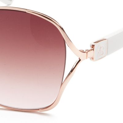Fashion Sunglasses: Rose Gold / White Jessica Simpson Square Glam Sunglasses