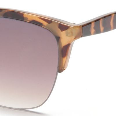 Fashion Sunglasses: Tortoise Jessica Simpson Semi Rimless Geo Club Sunglasses