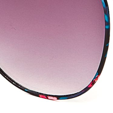 Round Sunglasses: Black Jessica Simpson Round Metal Floral Sunglasses