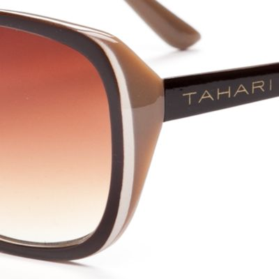 Tahari: Brown TAHARI™ Glam Rectangle Sunglasses
