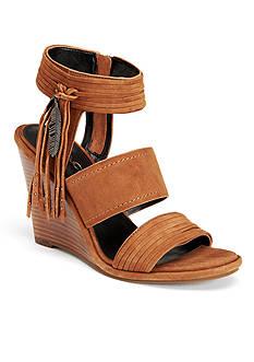 COACH Delaney Fringe Wrap Wedge Sandal
