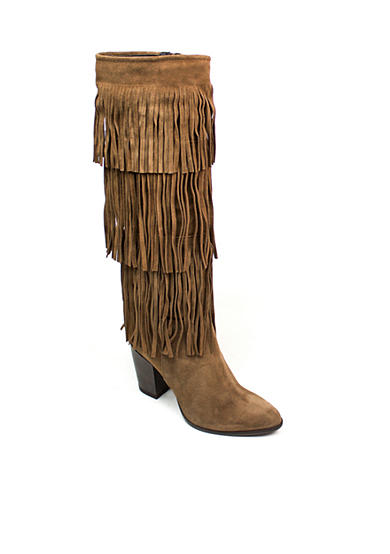Summit White Mountain Irena Italian Suede Leather Tall Shaft Boot with Fringe