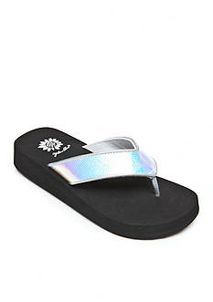 Yellow Box Hiver Iridescent Lizard Print Flip-Flops