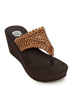 Yellow Box Charm Crochet High Wedge Sandals
