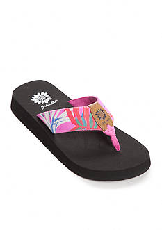 Yellow Box Ailani Tropical Print Flip Flop