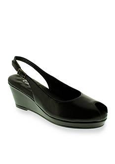Walking Cradles Natasha Peeptoe Slingback Wedge Matte Black - Available in Extended Sizes
