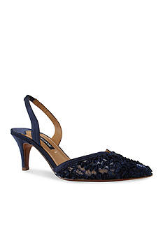 Kay Unger New York Lace and Satin Halter Sling Heel