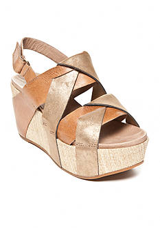 Antelope Wide Strappy Woven Bottom Wedge Sandals