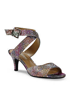 J Reneé SONCINO Rhinestone Metallic Geometric Fabric Mid Heel CrissCross Ankle Strap Sandal