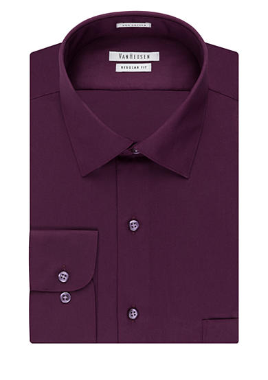 Van Heusen Classic Fit Wrinkle-Free Solid Sateen Dress Shirt