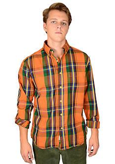 Vintage 1946 Plaid Texas Orange Shirt