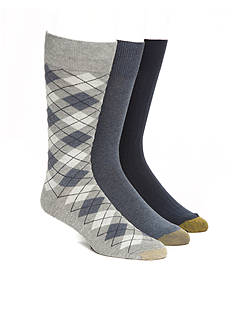 Gold Toe Argyle Pattern, Solid Knit and Solid Rib Crew Socks - 3 Pack