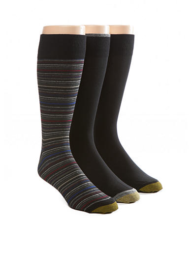 Gold Toe® Big & Tall Fashion Multi Stripe And Solid Socks - 3 Pack