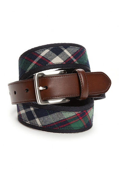 Saddlebred® Navy Green Plaid Belt