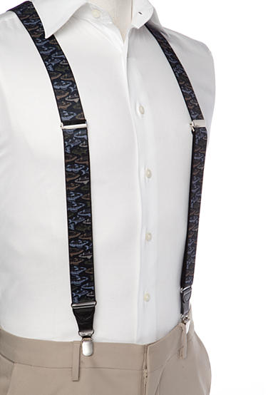 Saddlebred® 1.3-in. Printed Fish Stretch Clip Suspenders