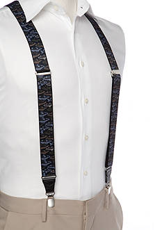 Saddlebred 1.3-in. Printed Fish Stretch Clip Suspenders