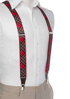 Saddlebred® 1.3-in. Plaid Stretch Clip Suspenders