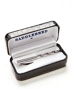Saddlebred Polished Rhodium Diagonal Boxed Tie Bar