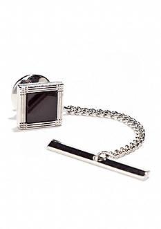 Saddlebred Silver/Onyx Square Tie Tack